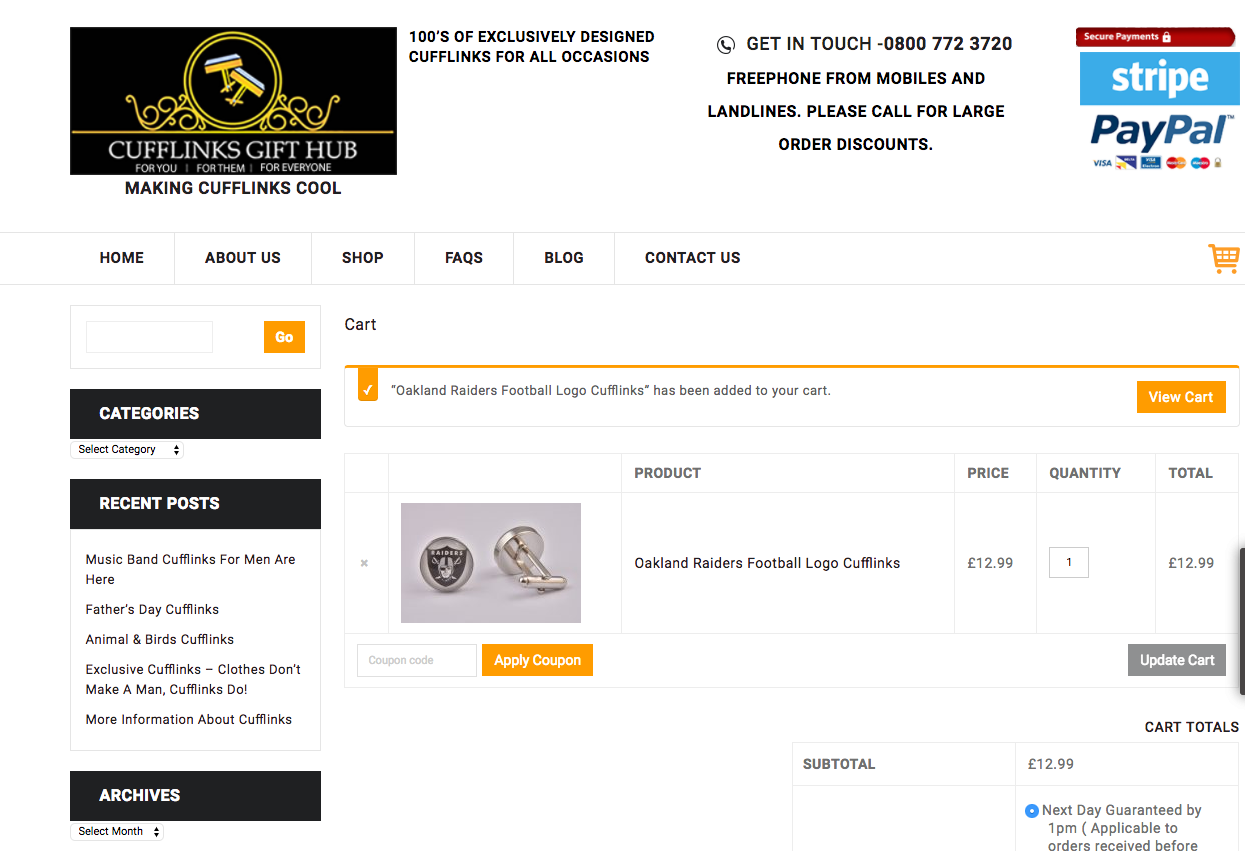 How to use a Cufflinks Gift Hub coupon code